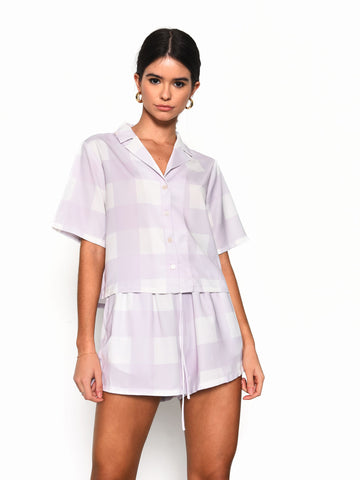 Lilac Checkerboard Short Sleeve Shirt