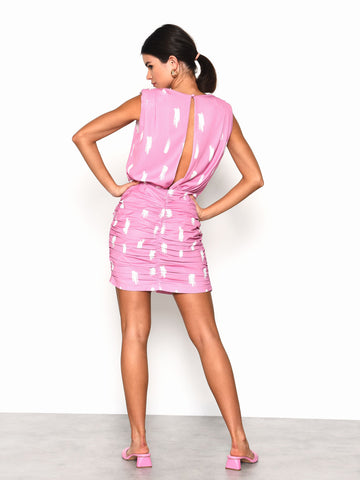Pink White Brush Mark Mini Dress