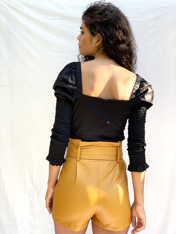 Golden Orche PU Belted Shorts