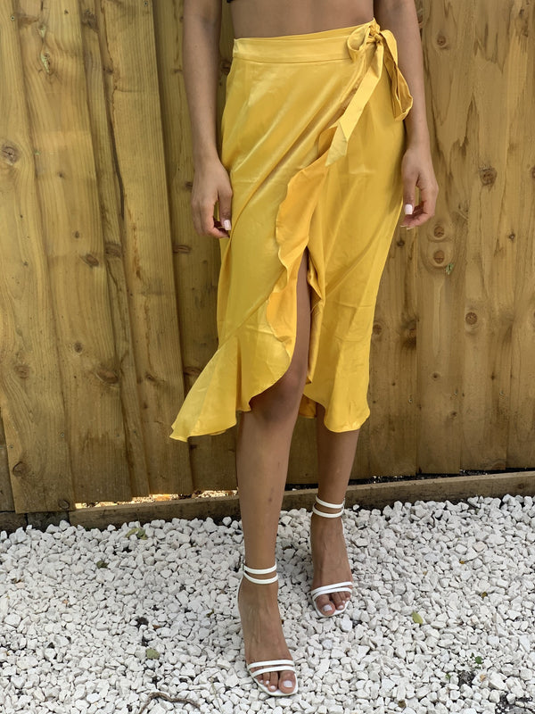 Mustard Satin Wrap Skirt