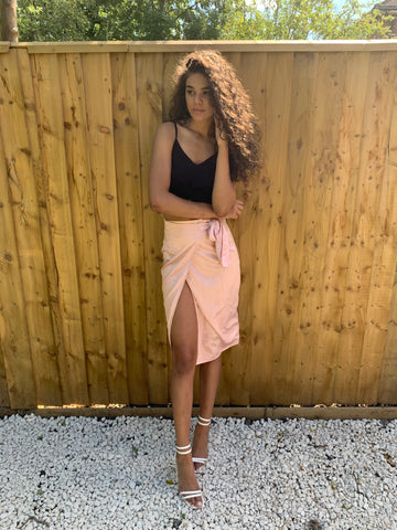 Pale Pink Satin Wrap Midi Skirt