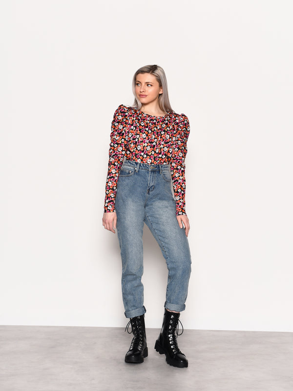 Mid-Stone Wash High Waisted Jeans