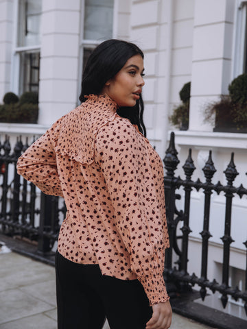 Curve Peach Floral Long Sleeved Blouse