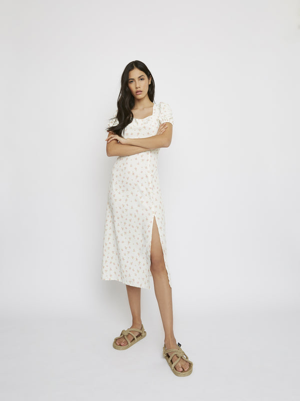 White Pink Daisy Print Side Split Dress