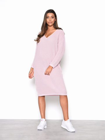 Sweet Pink Knitted Midi Dress