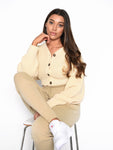 Long Sleeve Barley Button Front Knitted Cardigan