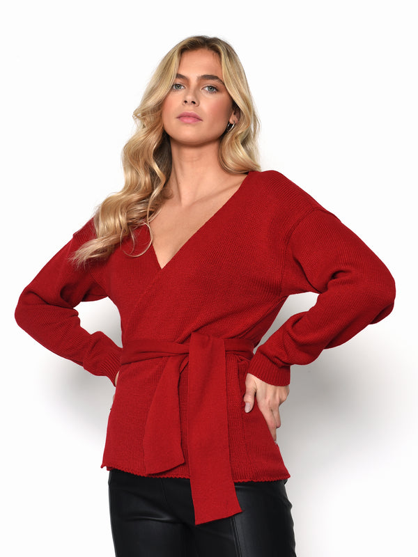 Red Knit Wrap Top