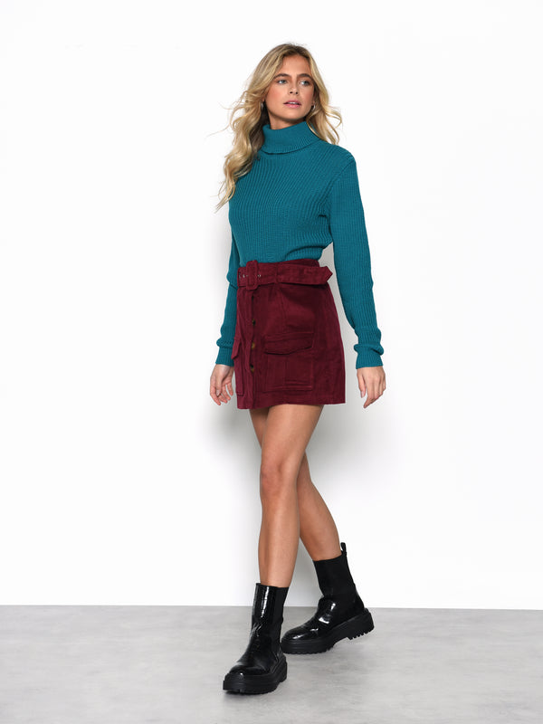 Blue Jade Long Sleeve Turtle Neck Jumper