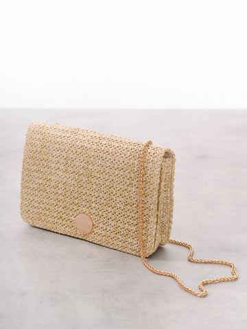Natural Woven Gold Chain Shoulder Bag