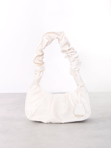 White Ruched Handle Shoulder Bag