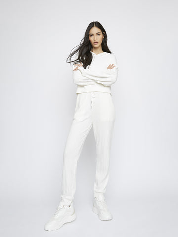 White Soft Ribbed Loungewear Hoodie
