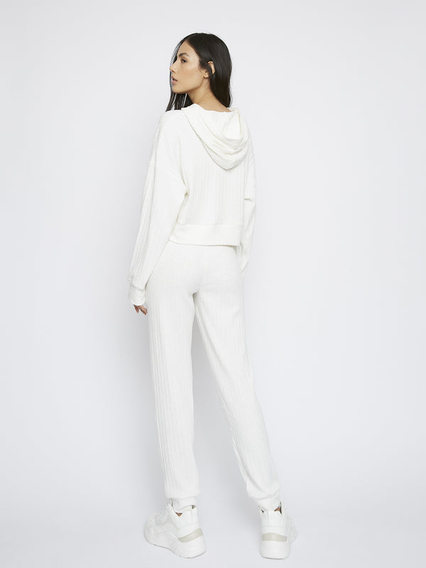 White Relaxed Soft Ribbed Loungewear Trousers