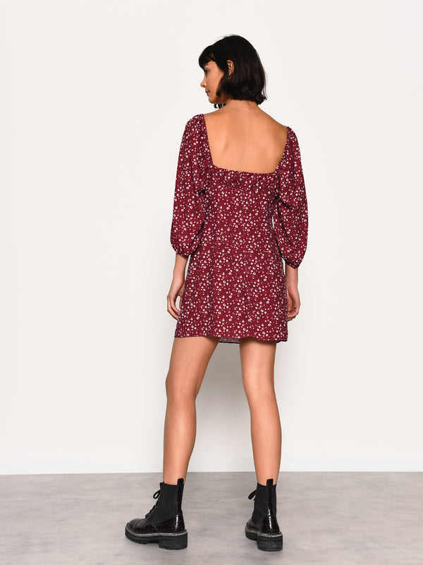Maroon Ditsy Print Mini Dress