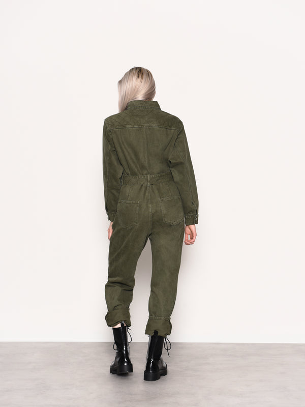 Khaki Wash Long Sleeve Jumpsuit