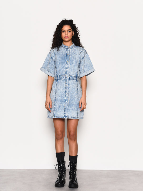 Blue Acid Wash Denim Button Front Mini Dress