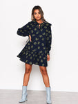 Navy Bouquet Floral Statement Collar Smock Dress