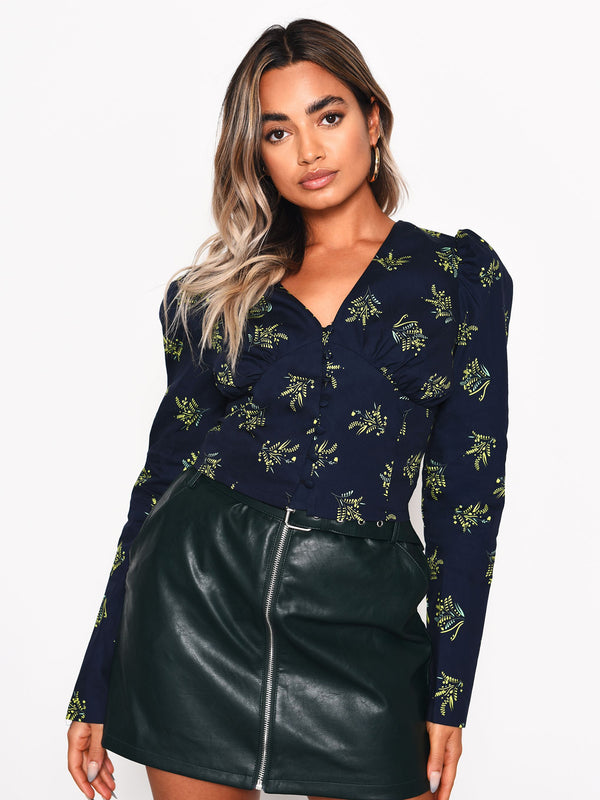 Navy Bouquet Floral Button Front Blouse