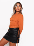 Rust Ruched Side Long Sleeve Top