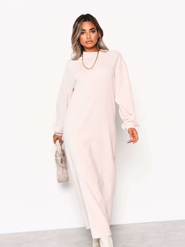 Cream Soft Ribbed Long Sleeve Midi Dress