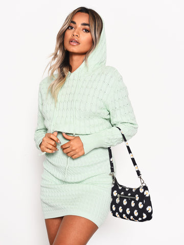Mint Knitted Hoodie