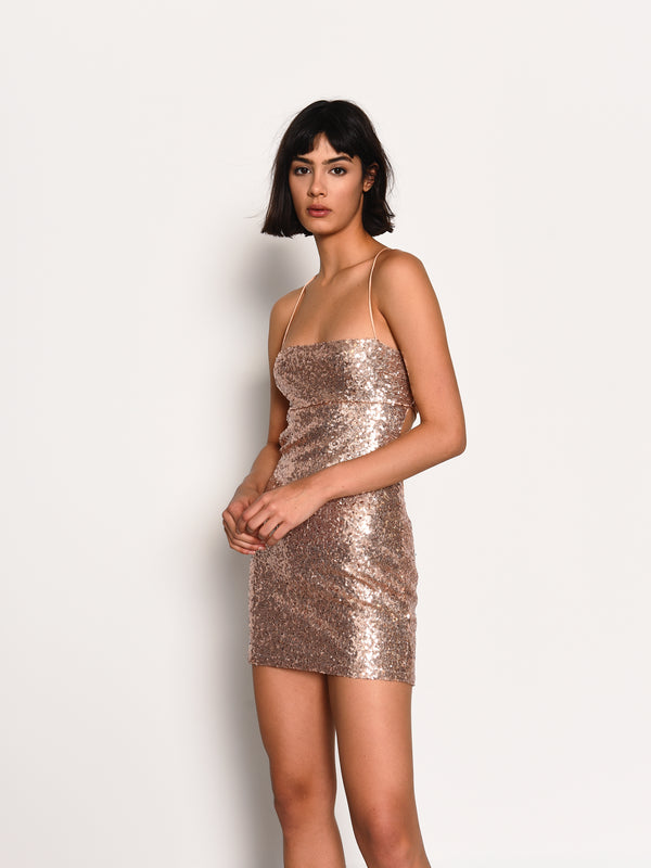 Gold Sequin Tie Back Mini Dress