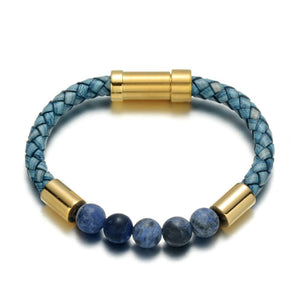 Lapis Leather Bracelet - Azure / Small