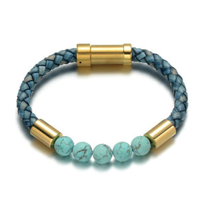 Lapis Leather Bracelet - Turquoise / Small