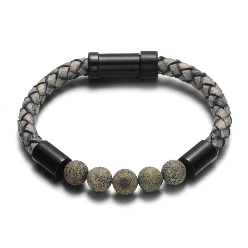 Trier Leather Bracelet - Flint / Small