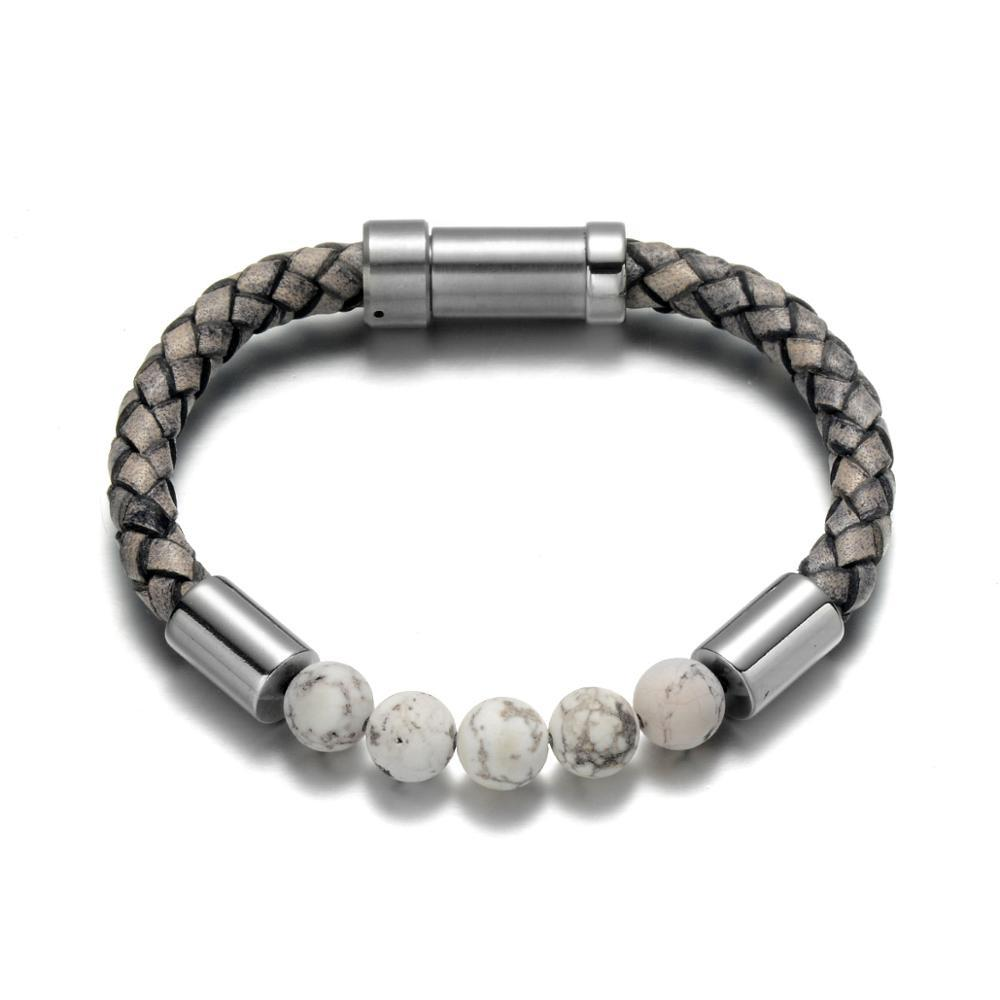 Trier Leather Bracelet - Pearl / Small