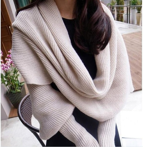 Knitted Scarf Shawl with Sleeves