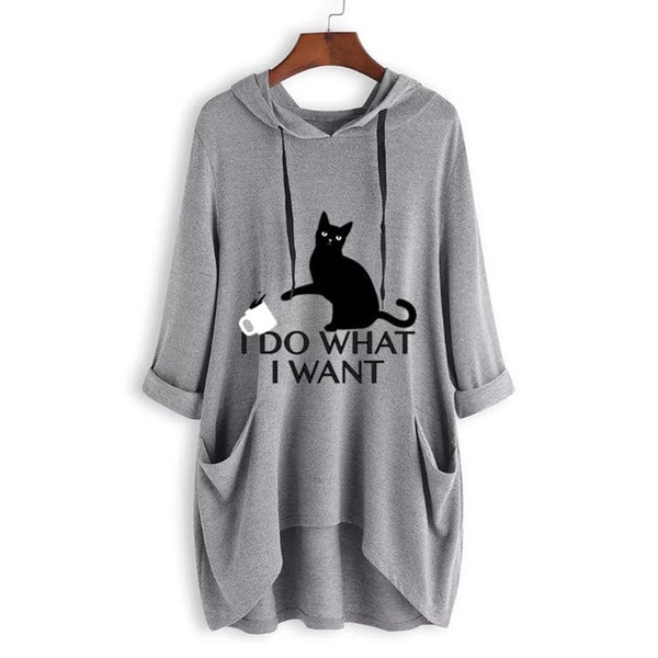 I Do What I Want Hoodie with Cat Ears - Eazy Trend