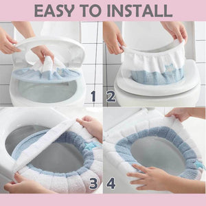 Plush Toilet Seat Cover Pad with Handle