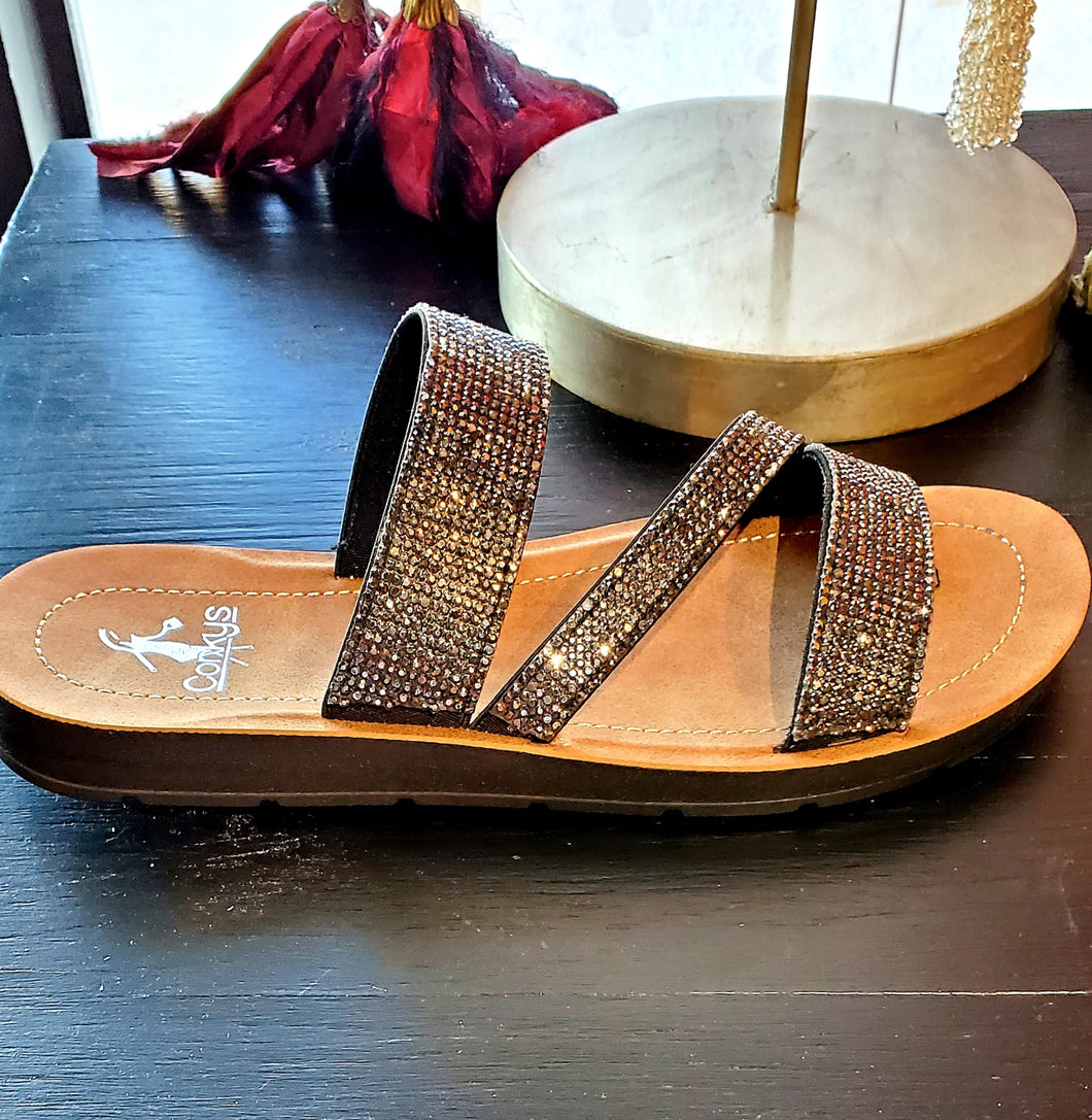 Runway Sparkle Slip On Sandals