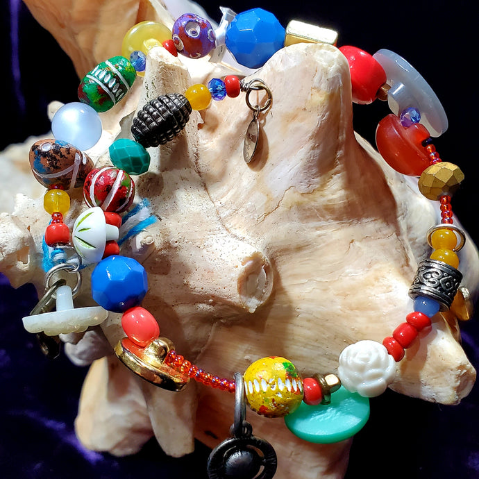 Button and Bead Wrap Bracelet by Daphne D.