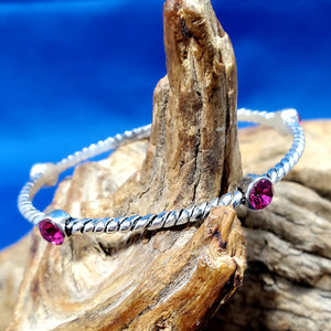 Silver Bangle with Pink