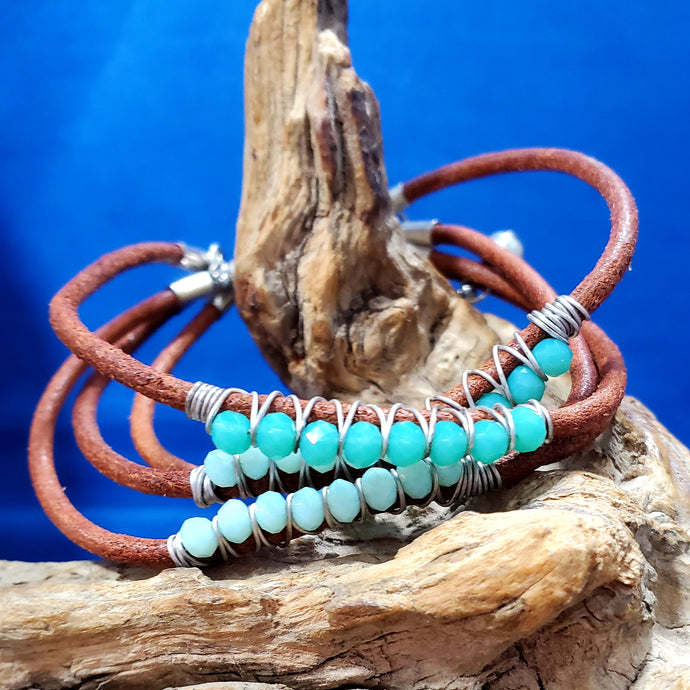 Brown & Blue Leather Bracelet