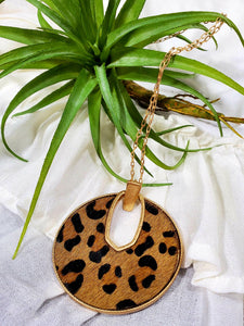 Golden Leopard Print Cowhide Necklace