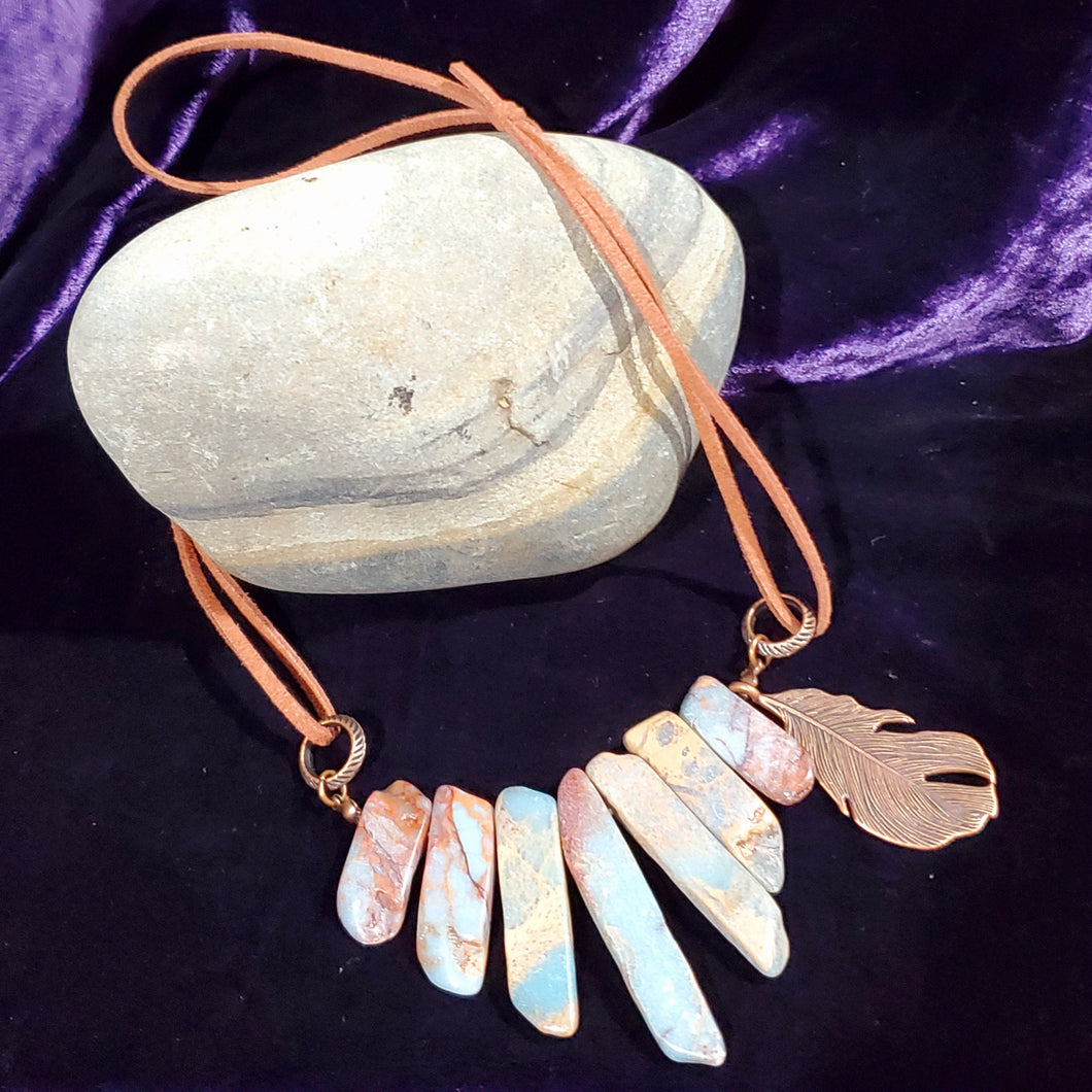 Stone Slab Feather Necklace