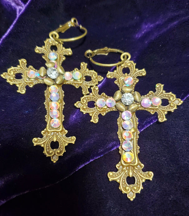 Victorian Crystal Cross Earrings