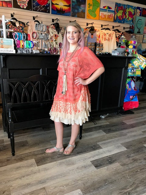 Pumpkin Spice Lace Tunic Top