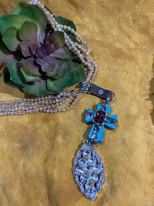 Multi Strand Beaded Cross Necklace