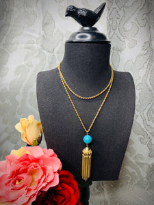 Turquoise & Gold Tassel Necklace