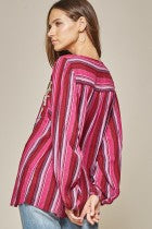 Load image into Gallery viewer, Sasha Striped Magenta Top