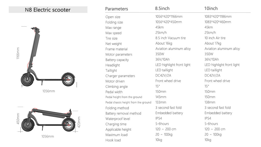 10Inch electric scooter specification
