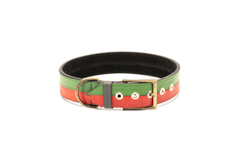 TWO-TONE CONTRAST LEATHER COLLAR IN RACING GREEN & CHERRY RED