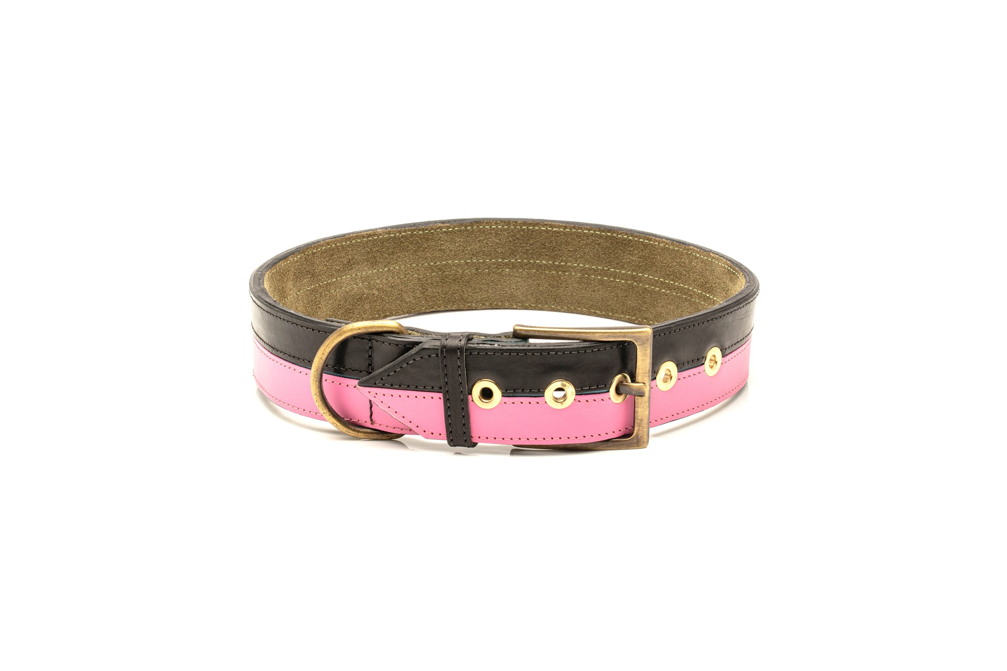 TWO-TONE CONTRAST LEATHER COLLAR IN YUCATAN BLACK & FUSHIA PINK