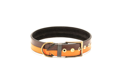TWO-TONE CONTRAST LEATHER COLLAR IN YUCATAN BROWN & VIBRANT ORANGE