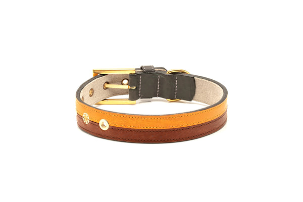 TWO-TONE CONTRAST LEATHER COLLAR IN NATURAL BROWN & MUSTARD TAN