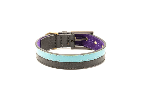 TWO-TONE CONTRAST LEATHER COLLAR IN  YUCATAN BLACK & TURQUOISE BLUE