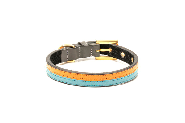 TWO-TONE CONTRAST LEATHER COLLAR IN TURQUOISE BLUE & VIBRANT ORANGE